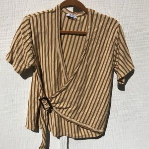 Zara yellow stripe wrap tee, loose fit